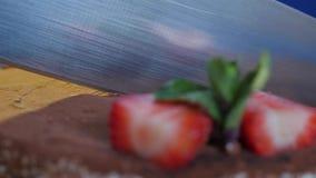 Torta de chocolate femenina del corte con las fresas en la tabla de madera, en fondo azul marino Rebanada de torta de chocolate e metrajes