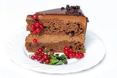 Torta de chocolate oscura con las pasas rojas y las hojas del verde Fotografía de archivo