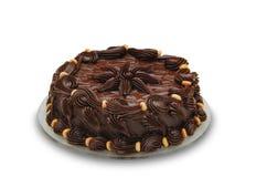 Torta de chocolate oscura. Receptor de papel adornado Imagenes de archivo