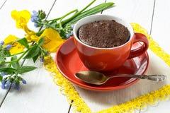 Torta de chocolate y cocción rápida en una taza fotografía de archivo libre de regalías