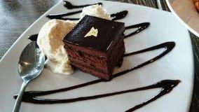 Torta de chocolate y helado Foto de archivo libre de regalías