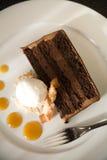 Torta de chocolate y helado de coco Fotografía de archivo libre de regalías