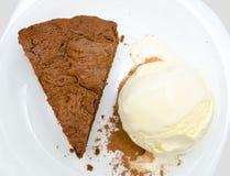 Torta de chocolate y helado, visión superior Fotografía de archivo libre de regalías