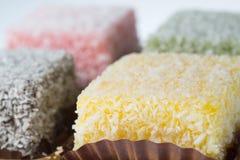 Torta de coco de Lamington Fotos de archivo libres de regalías