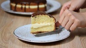 Torta de creme de Boston com vitrificação do chocolate Posto o na bacia um a parte da torta de creme de Boston video estoque