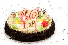 Torta de cumpleaños 40 años Fotografía de archivo
