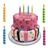 Torta de cumpleaños adornada Imagen de archivo libre de regalías