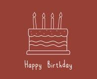 Torta de cumpleaños blanca linda Fotografía de archivo libre de regalías