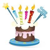 Torta de cumpleaños con cuatro velas Foto de archivo libre de regalías