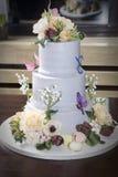 Torta de cumpleaños con la flor, mariposa en el vector Imágenes de archivo libres de regalías