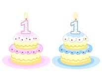 Torta de cumpleaños con la vela Imagen de archivo