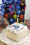 Torta de cumpleaños con la vela Imagen de archivo libre de regalías