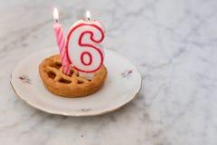 Torta de cumpleaños con las velas Fotos de archivo libres de regalías