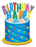Torta de cumpleaños con las velas Imagen de archivo