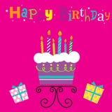 Torta de cumpleaños con las velas Puede ser utilizado para la tarjeta de felicitación, invitación Imágenes de archivo libres de regalías