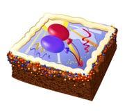 Torta de cumpleaños con los globos Foto de archivo libre de regalías