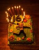 Torta de cumpleaños de las muchachas Fotografía de archivo libre de regalías
