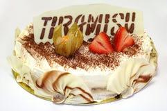 Torta de cumpleaños de Tiramisu imagen de archivo libre de regalías