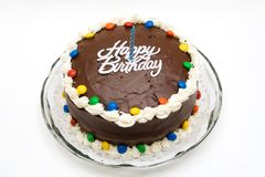 Torta de cumpleaños del chocolate Imagen de archivo