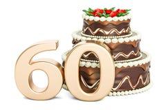 Torta de cumpleaños del chocolate con el número de oro 60, representación 3D ilustración del vector