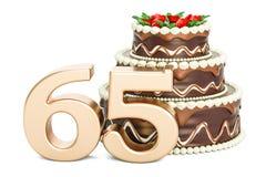 Torta de cumpleaños del chocolate con el número de oro 65, representación 3D Foto de archivo libre de regalías