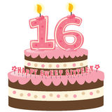 Torta de cumpleaños del dulce dieciséis fotos de archivo libres de regalías