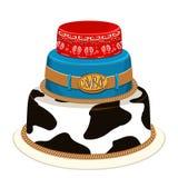 Torta de cumpleaños del partido del vaquero. Ejemplo del vector Imagen de archivo libre de regalías