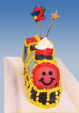 Torta de cumpleaños del tren fotografía de archivo