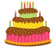 torta de cumpleaños del vector con las velas stock de ilustración