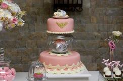 Torta de cumpleaños dulce Fotos de archivo