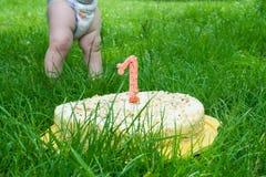 Torta de cumpleaños en hierba Fotos de archivo libres de regalías