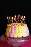 Torta de cumpleaños encendida Fotografía de archivo libre de regalías