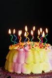 Torta de cumpleaños encendida Fotografía de archivo