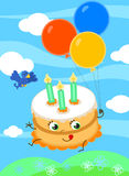 Torta de cumpleaños linda con vector de los globos ilustración del vector