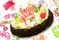 Torta de cumpleaños por 16 años de jubileo Imagenes de archivo