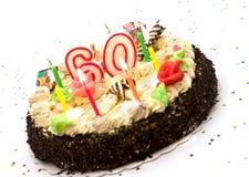 Torta de cumpleaños por 60 años de jubileo fotos de archivo libres de regalías