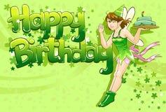 Torta de cumpleaños que se sostiene de hadas feliz Foto de archivo libre de regalías