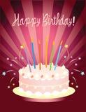 Torta de cumpleaños roja Fotografía de archivo