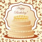 Torta de cumpleaños, tarjeta del regalo Foto de archivo