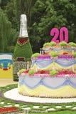 Torta de cumpleaños y una botella Foto de archivo libre de regalías