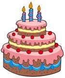Torta de cumpleaños grande de la historieta Foto de archivo libre de regalías