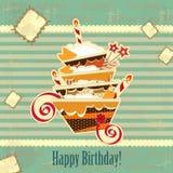 Torta de cumpleaños grande del chocolate Foto de archivo libre de regalías