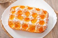 Torta de esponja con los albaricoques Foto de archivo libre de regalías