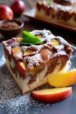 Torta de esponja de la nectarina Fotografía de archivo