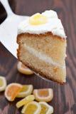 Torta de esponja hecha en casa deliciosa del limón foto de archivo