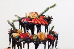 Torta de formación de hielo poner crema blanca con las frutas y el chocolate, torta desnuda de la boda en el fondo blanco, vista  Imágenes de archivo libres de regalías