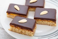 Torta de la almendra del chocolate Fotos de archivo libres de regalías