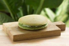 Torta de la cacerola de Dorayaki del té verde Imagen de archivo