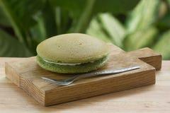 Torta de la cacerola de Dorayaki del té verde Imagen de archivo libre de regalías