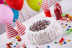 Torta de la celebración con la decoración Fotos de archivo libres de regalías